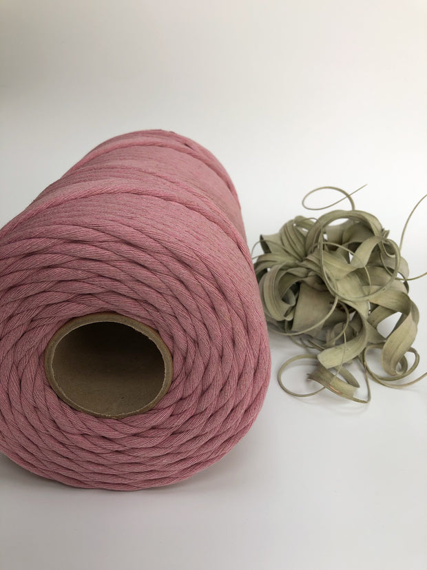 Primrose Pink, 8 mm, 130 plies supersoft single twisted cotton stringrope - recycled cotton