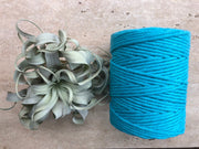 Turquoise, 5 mm supersoft single twisted cotton stringrope - recycled cotton