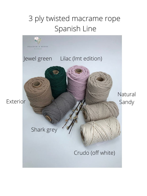 3 ply Twisted Macramerope - Natural Sandy - in 4, 6 and 8 mm (Spanish Line)