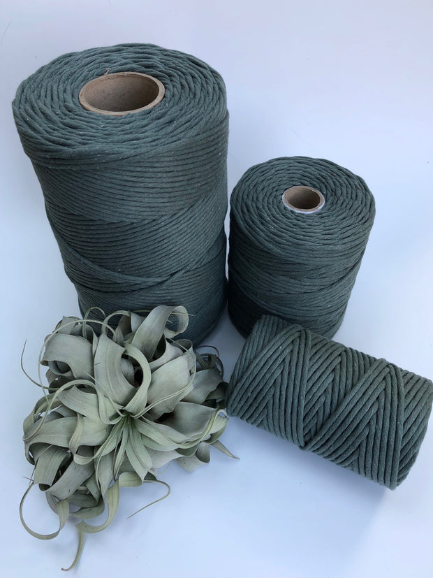 Pine Green, 5 mm supersoft single twisted cotton stringrope - recycled cotton