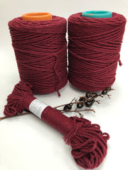 Wine Red - 3 and 5 mm supersoft single twisted cotton stringrope