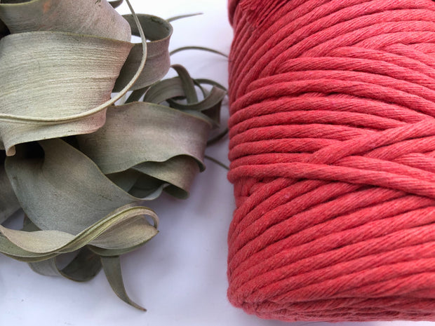 Coral, 5 mm supersoft single twisted cotton stringrope - recycled cotton