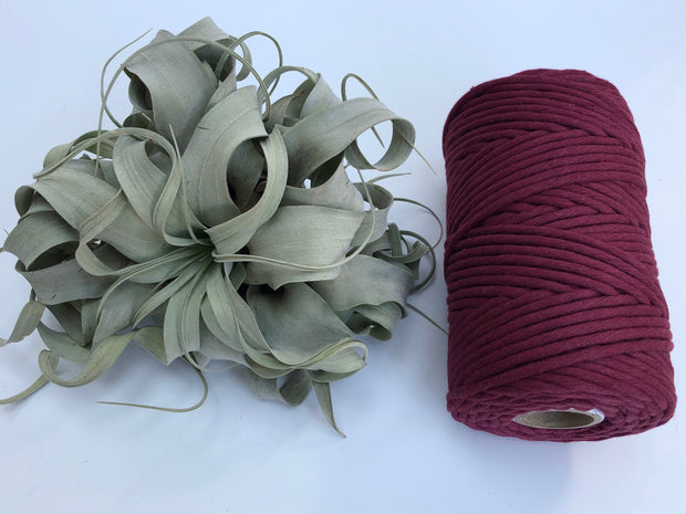 Berry, 5 mm supersoft single twisted cotton stringrope - recycled cotton