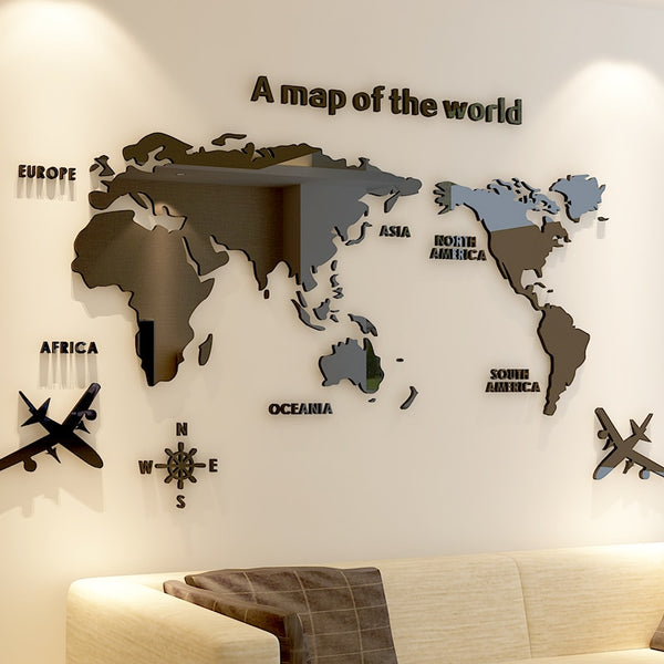 3D Acrylic World Map Wall Sticker