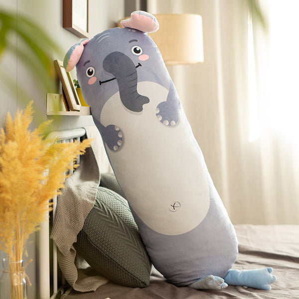 New Huggable Lovely Long Animals Plush Pillow Stuffed Cute Sharpei Dog Grey Elephant Pig Crocodile Sloth Penguin Toys Pillows