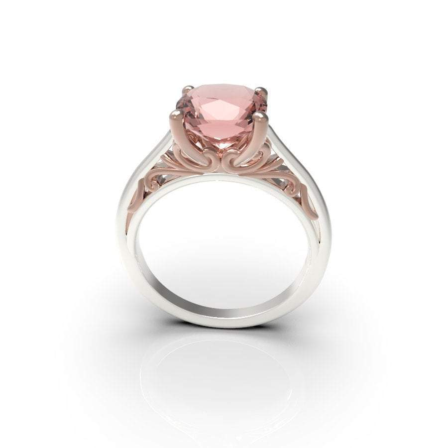 Avery Morganite Rose and white Gold Engagement Ring