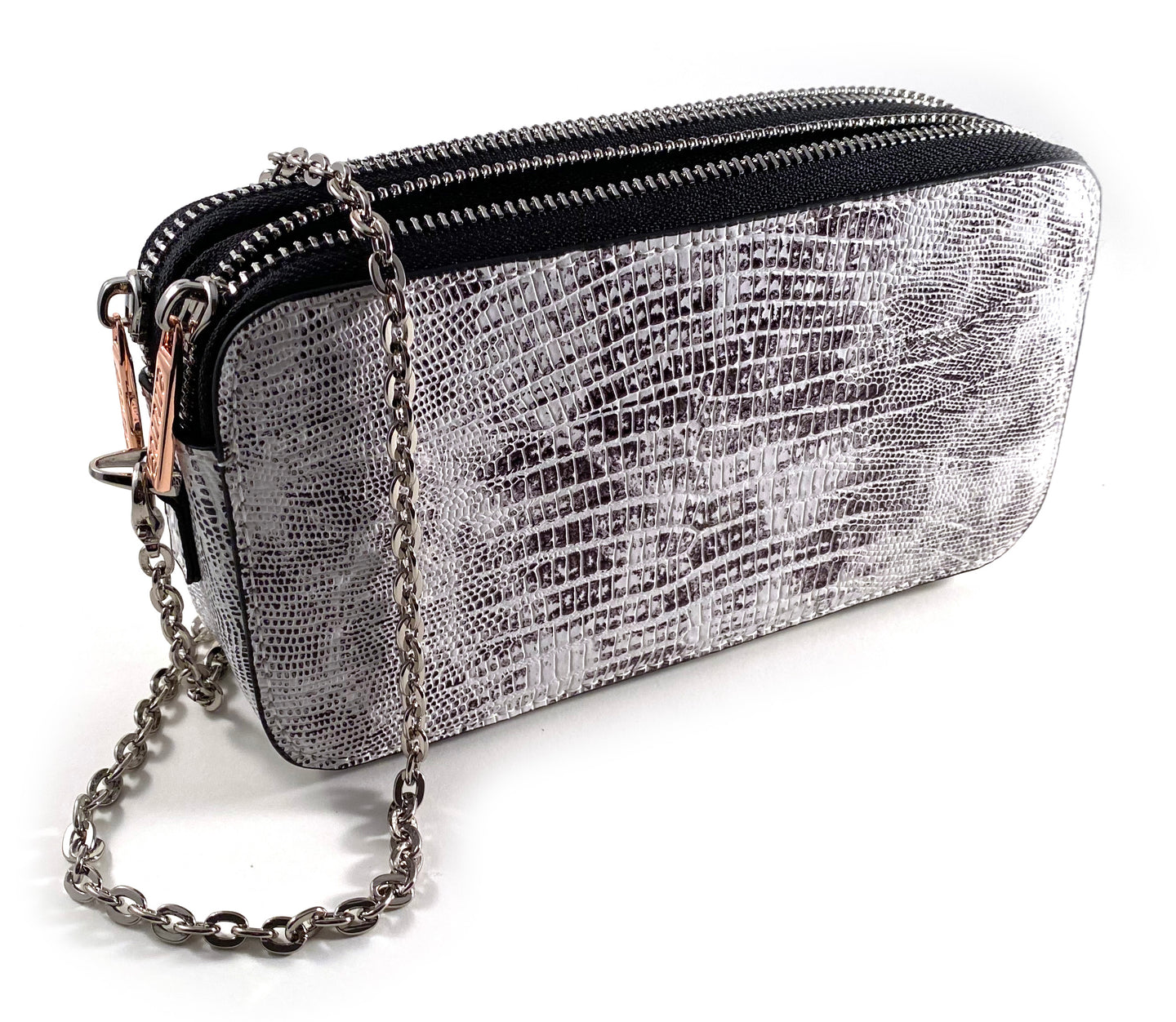 Snake Skin Double Wallet Bag