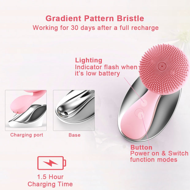 Silicone Rotating Magnetic Deep Cleaning Rechargeable Brush