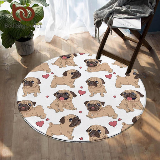 Pug Round Carpets For Living Room Animal Cartoon Area Rug Cute Bulldog Floor Mat for Kids Bedroom Play Mat