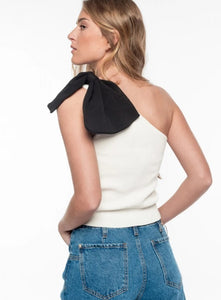 Asymmetric Knit Top with Bow