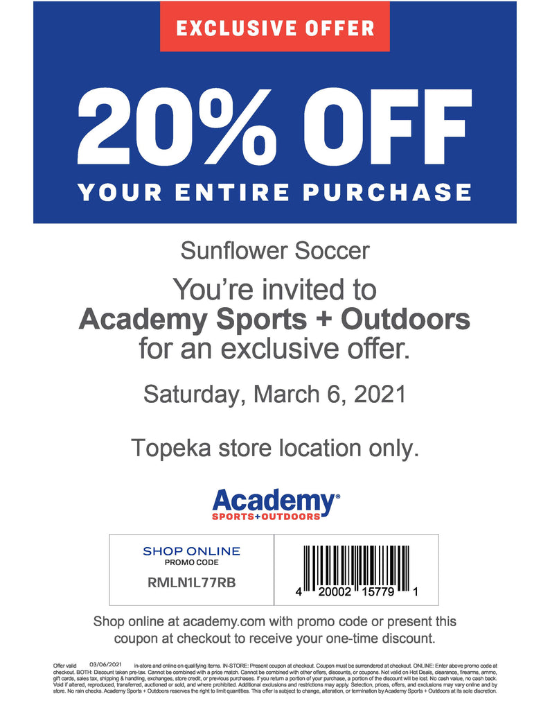 Academy Sports 20% savings coupon