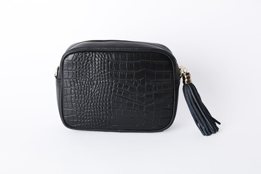 Cross body Leather Bag - Black