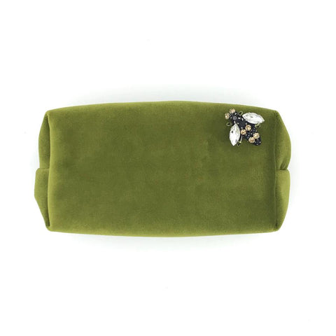 Chartreuse Velvet Make-Up Bag