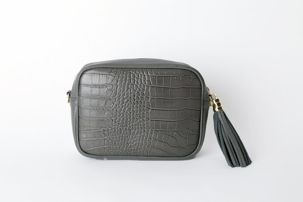 Cross body Leather Bag - Grey