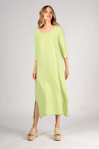 Grizas Split Hem Lime Linen Dress