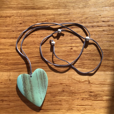 Wooden Heart Heart Necklace - Aqua