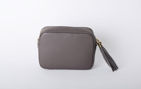 Leather Cross Body Bag - Taupe