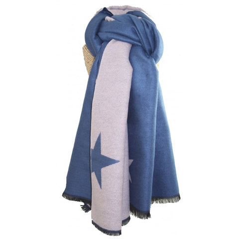 Denim Blue Stars Scarf