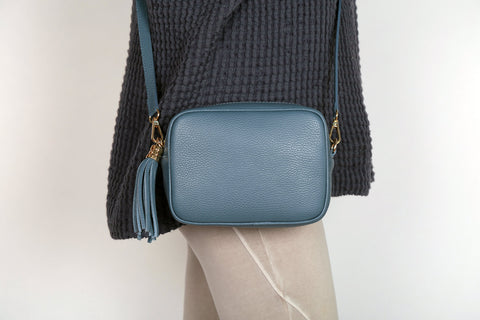 Leather Cross Body Bag - Denim Blue