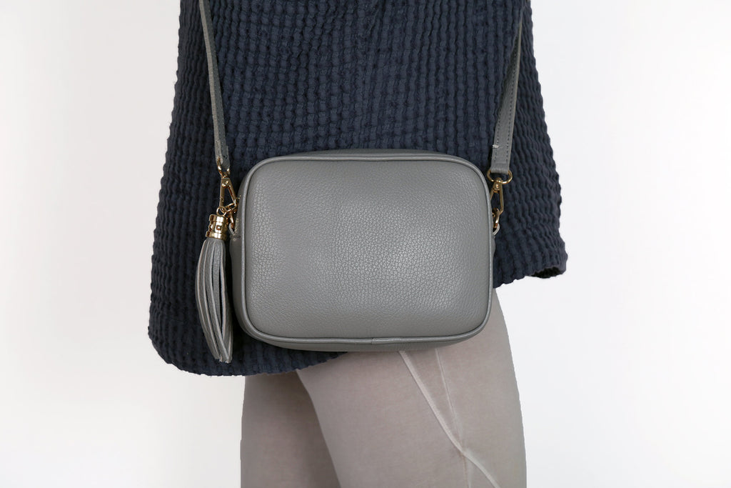 Leather Cross Body Bag - Light Grey