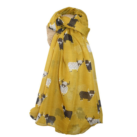 Highland Cow Scarf Mustard Yellow