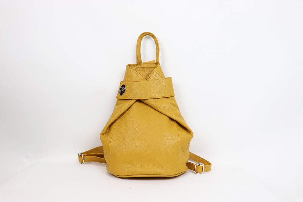 Textured Leather Backpack Mustard