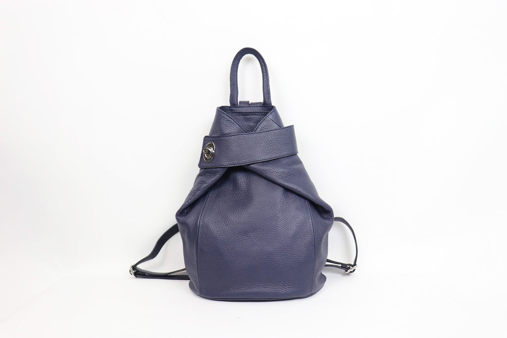 Textured Leather Backpack Dark Navy