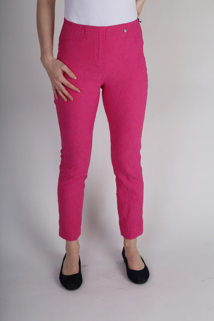 Robell Rose 09 Trousers - Deep pink Jacquard print - 7/8 length