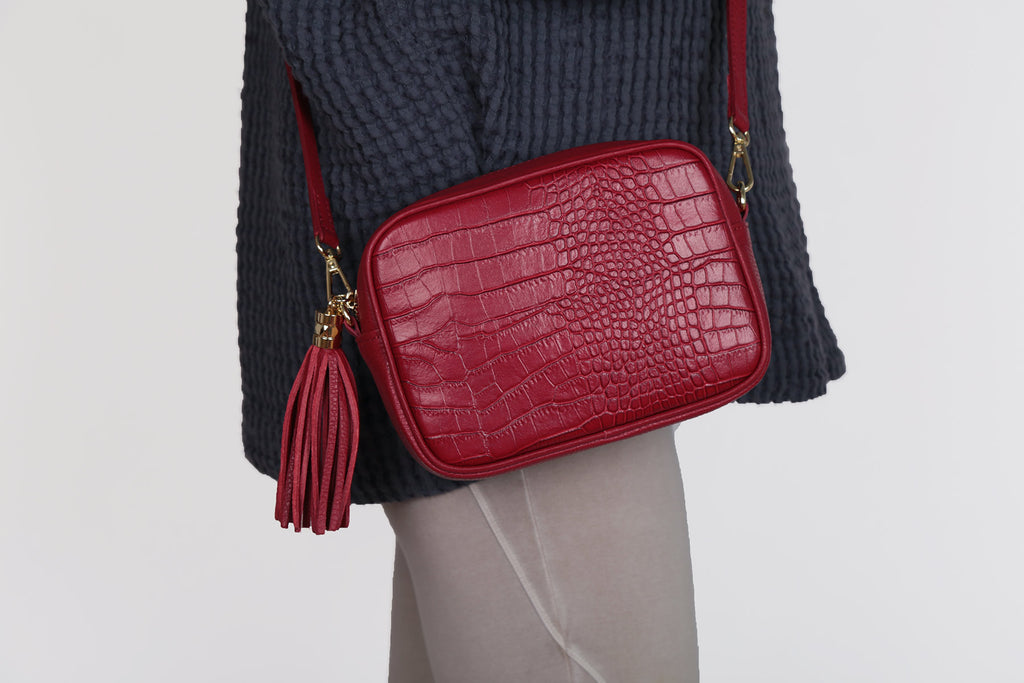 Cross body Leather Bag  - Red