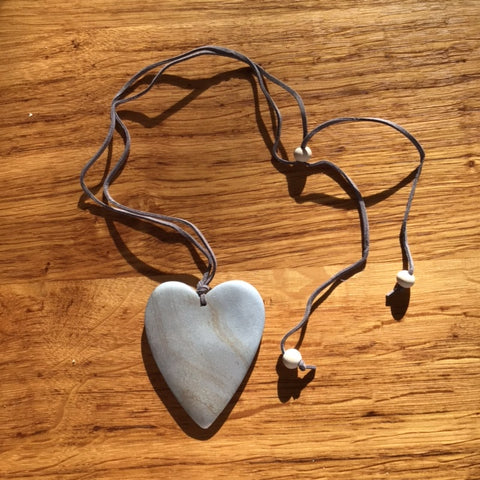 Wooden Heart Heart Necklace - Silver