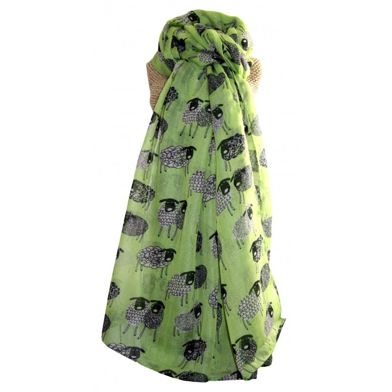 Sketched Sheep Scarf Green
