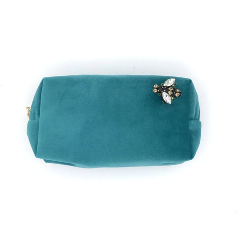 Turquoise Velvet Make Up Bag