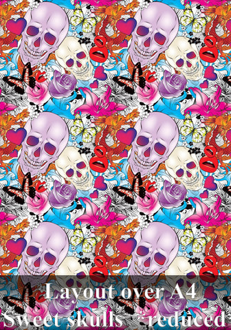 Custom printed Hydrographics hydro dipping film Style No103 Sweet skulls *reduced*