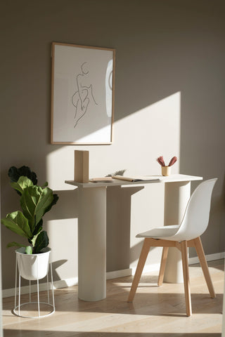 Modern desk in home with line drawing of female