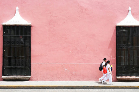 Image of pink exterior in Merida Mexico