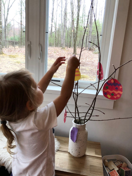 Daughter with Swedish Easter Tree