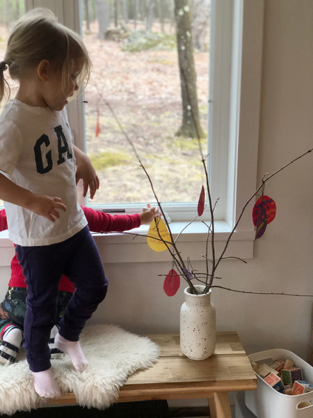 Photo of daughter with Swedish Easter Tree