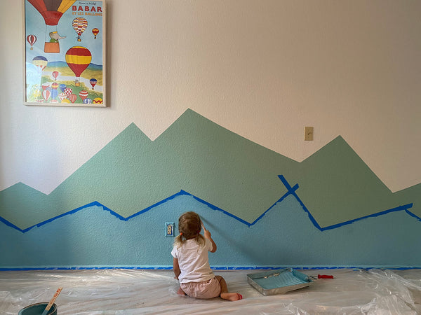 Isa painting mountain scape mural kids room