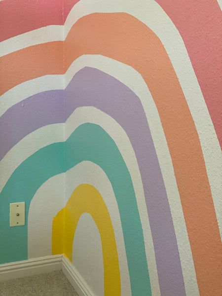 photo of rainbow wall mural kids room blue house goods