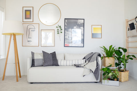 Røros Tweed Syndin pillow and OYOY Kyoto pillow on Rove Concepts loveseat