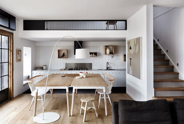Modern Scandinavian home and living space with minimalist furniture and functional design