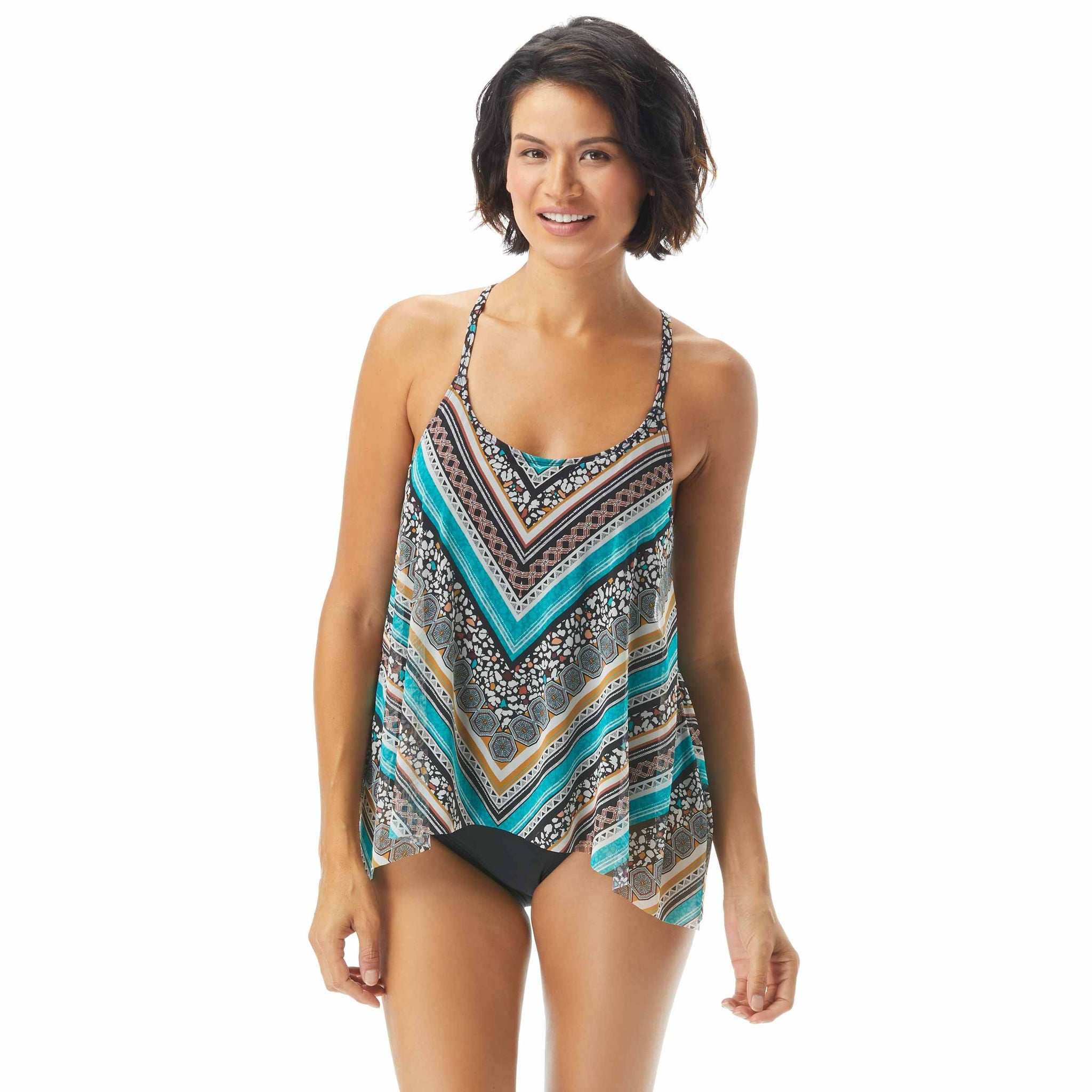 Coco Reef Current Bra Sized Mesh Layer Underwire Tankini Top - Wild Stripes U53035