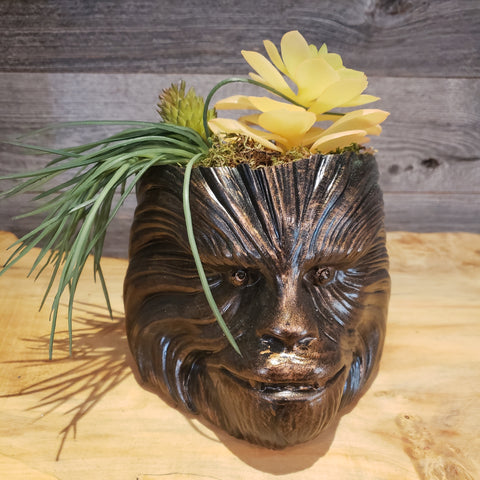 Bronze Chewbacca Planter succulents air plants  terrarium decor