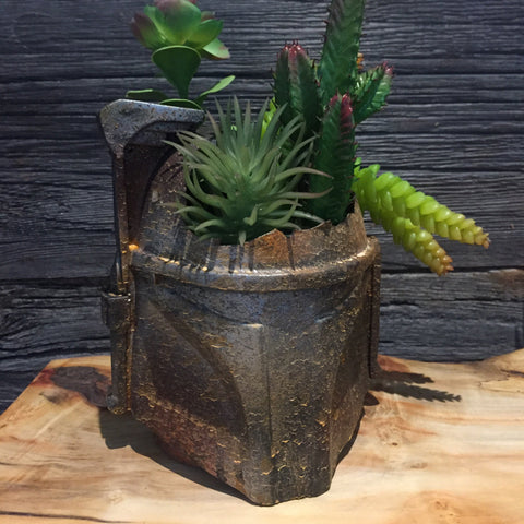 Rusted Boba Fett Helmet Planter succulents air plants  terrarium decor