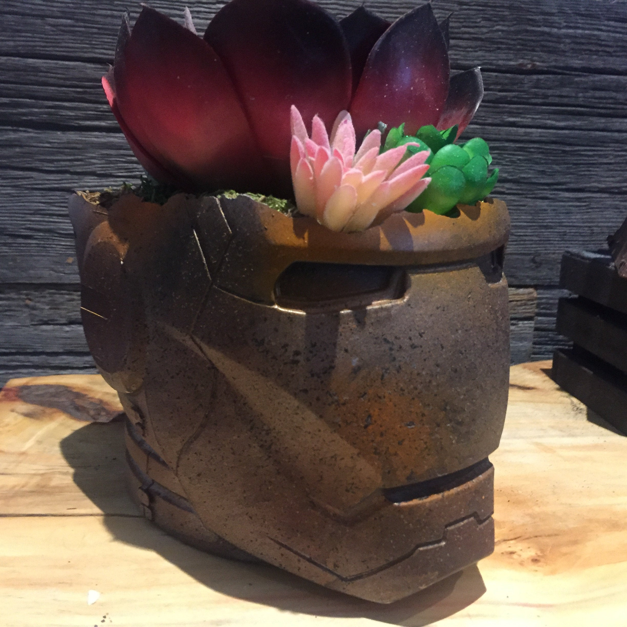 Rusted Ironman   Helmet Planter succulents air plants  terrarium decor Avengers