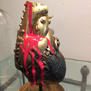 Mended Heart  resin art statue  Punk Heart glass dome
