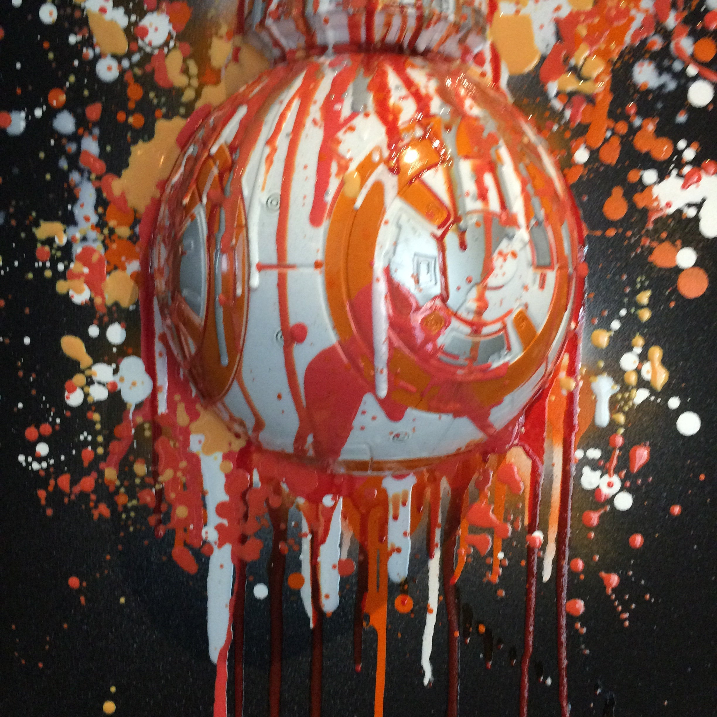 3D Graffiti BB-8 Droid Painting  resin drip wall  art  Star Wars Splatter