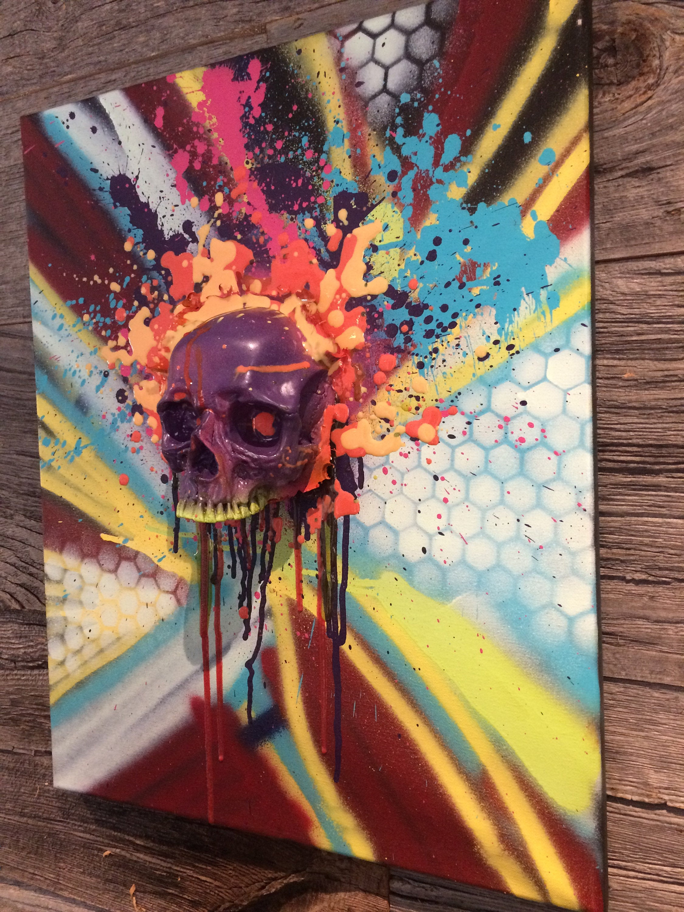 Graffiti Skull  Painting  resin drip wall  art  Tattoo Goth Splatter art