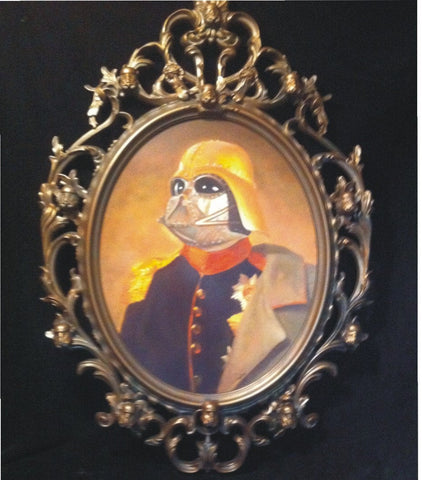 Czar Wars Steampunk Darth Vader Original Oil Painting in Custom Bronze Stormtrooper Frame