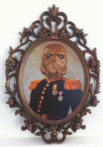 Czar Wars Steampunk StormTrooper Original Oil Painting in Custom Bronze Stormtrooper Frame